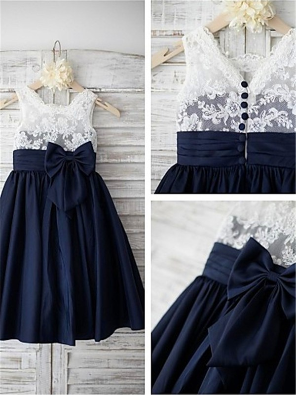 A-line Straps Sleeveless Tea-length Taffeta Flower Girl Dress