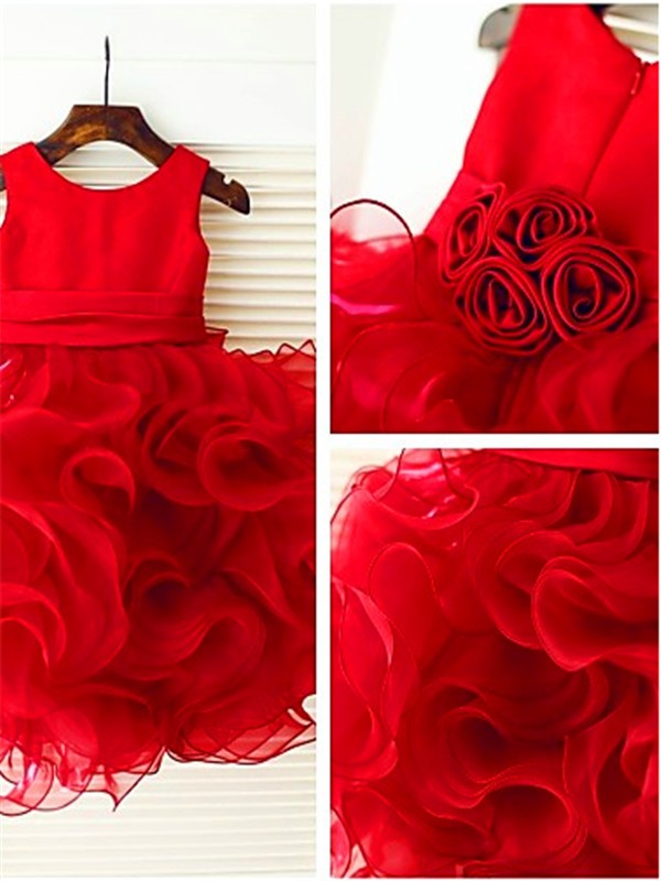 Ball Gown Scoop Sleeveless Layers Tea-Length Organza Flower Girl Dress