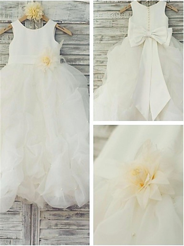 Ball Gown Sleeveless Scoop Floor-Length Organza Flower Girl Dress