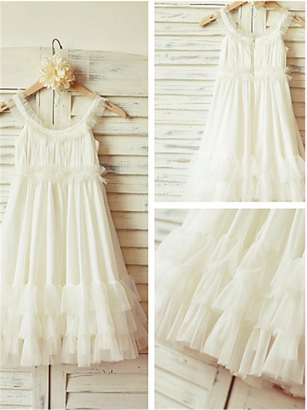 Straps Sleeveless Tea-length Chiffon Flower Girl Dress