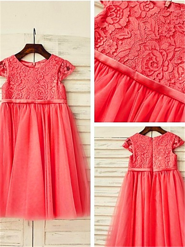 A-line Scoop Short Sleeves Lace Tea-Length Tulle Flower Girl Dress