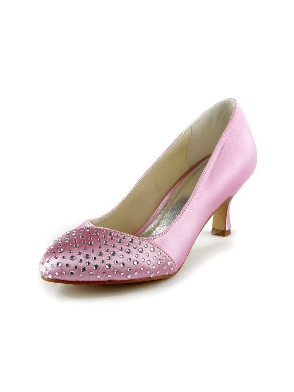 Women's Fashion Satin Stiletto Heel Closed Toe With Rhinestone Pink Wedding Shoes