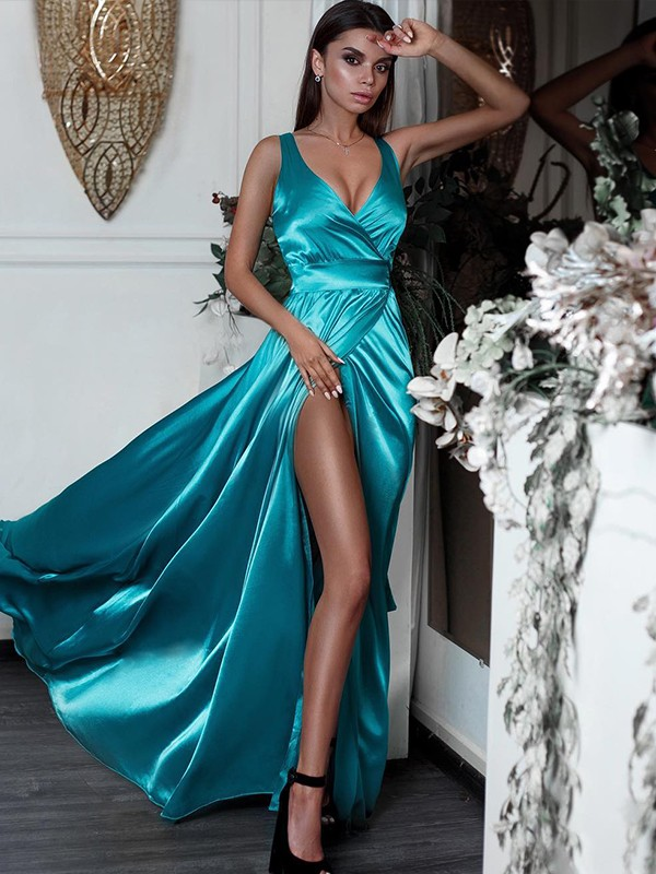 A-Line Sleeveless V-neck Floor-Length Ruffles Satin Dresses