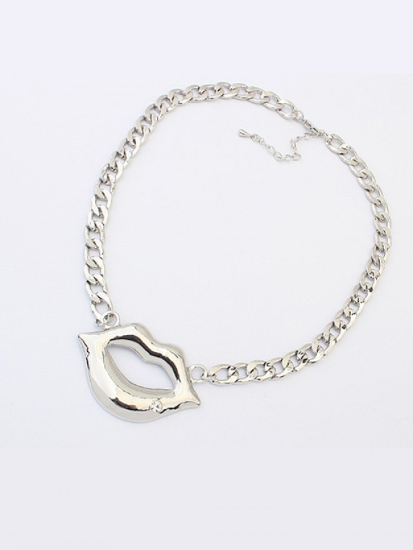 Occident Hyperbolic Flash Drilling Sexy Lip Print Hot Sale Necklace