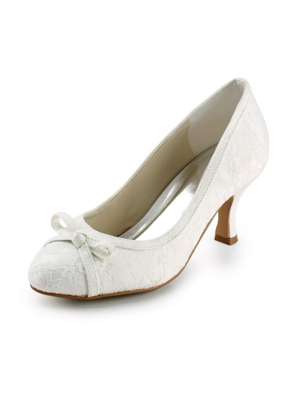 Women's Satin Spool Heel Closed Toe Pumps Ivory Wedding Shoes With Bowknot