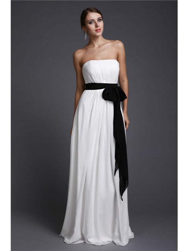Sheath/Column Strapless Sash/Ribbon/Belt Long Sleeveless Chiffon Bridesmaid Dresses