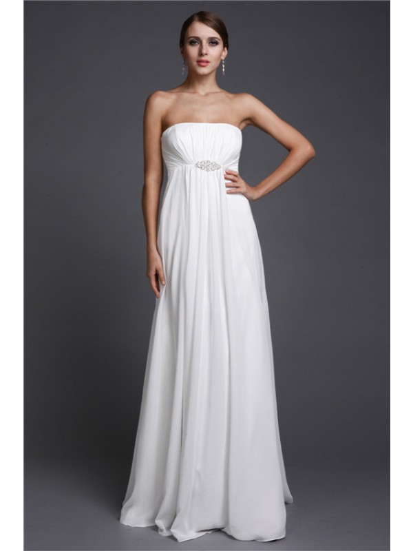 A-Line/Princess Strapless Sleeveless Beading Long Chiffon Bridesmaid Dresses