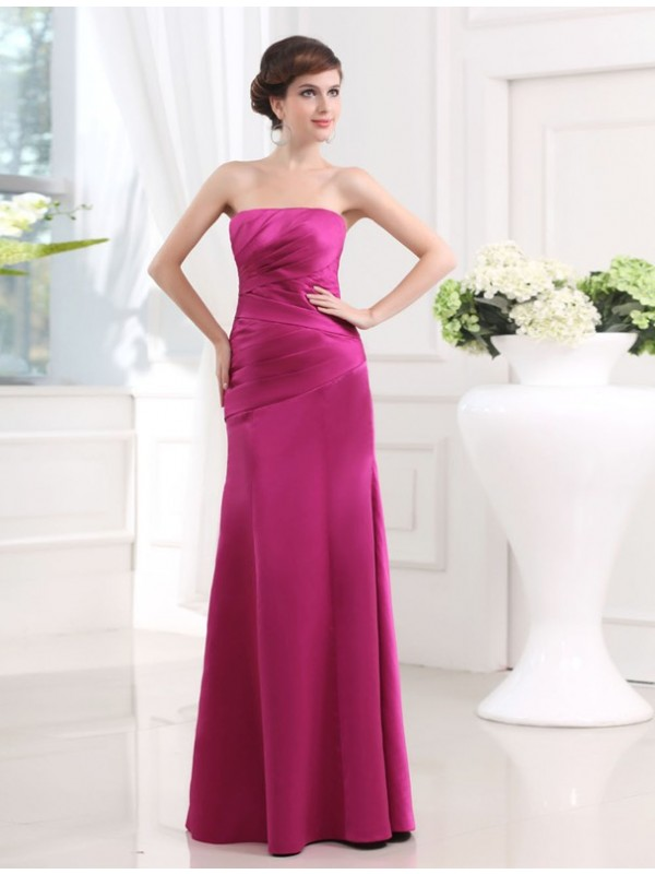 Sheath/Column Strapless Sleeveless Long Pleats Satin Bridesmaid Dresses