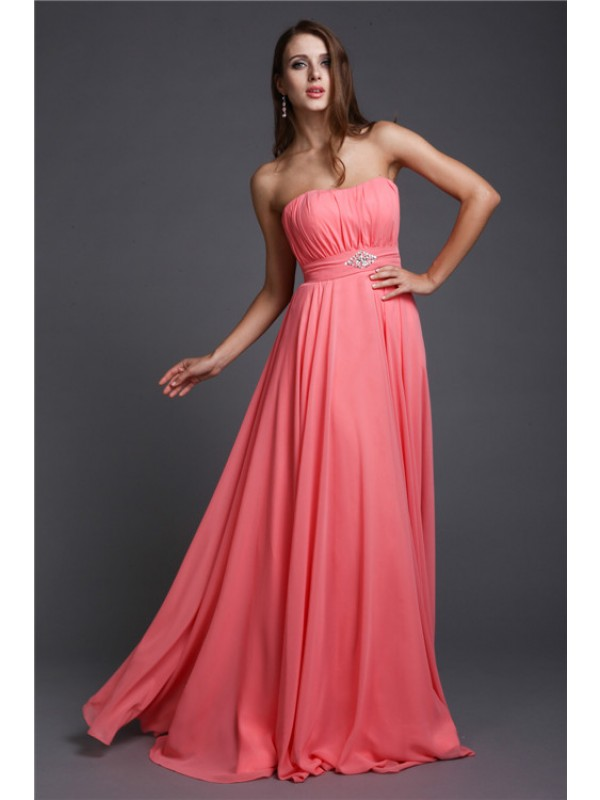 A-Line/Princess Strapless Beading Sleeveless Long Bridesmaid Dresses