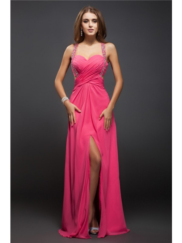 Sheath/Column Straps Ruffles Sleeveless Long Chiffon Dresses
