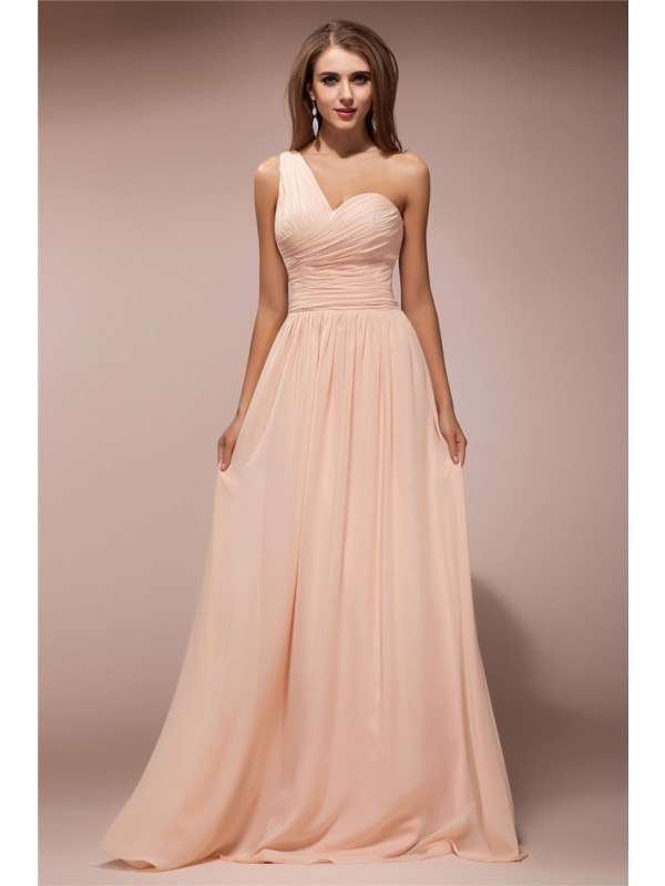 Sheath/Column One-Shoulder Sleeveless Ruffles Long Chiffon Dresses
