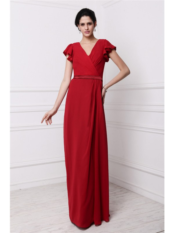 Sheath/Column V-neck Short Sleeves Pleats Long Chiffon Bridesmaid Dresses