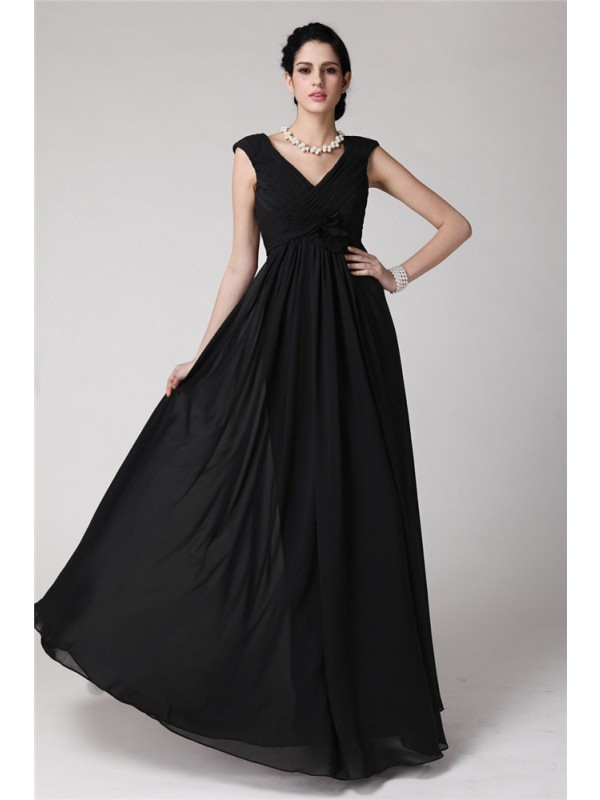 Sheath/Column V-neck Sleeveless Pleats Long Chiffon Dresses