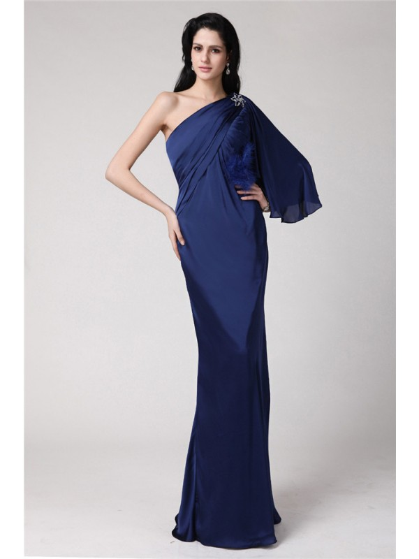Trumpet/Mermaid One-Shoulder Long Feather Chiffon Damask Dresses