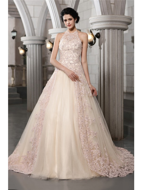 A-Line/Princess High Neck Sleeveless Beading Applique Long Net Wedding Dresses