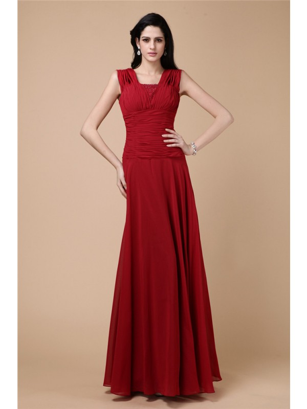 Sheath/Column Beading Pleats Long Chiffon Dresses