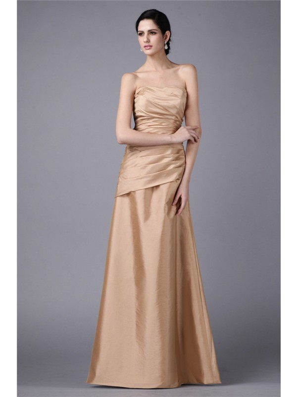 Sheath/Column Strapless Sleeveless Pleats Long Taffeta Dresses