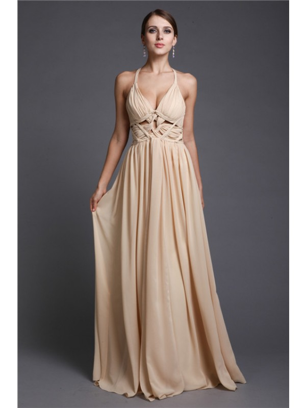 A-Line/Princess V-neck Sleeveless Long Ruffles Chiffon Dresses