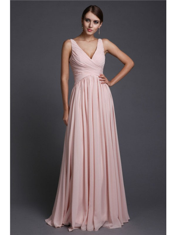 A-Line/Princess V-neck Sleeveless Long Ruffles Chiffon Bridesmaid Dresses