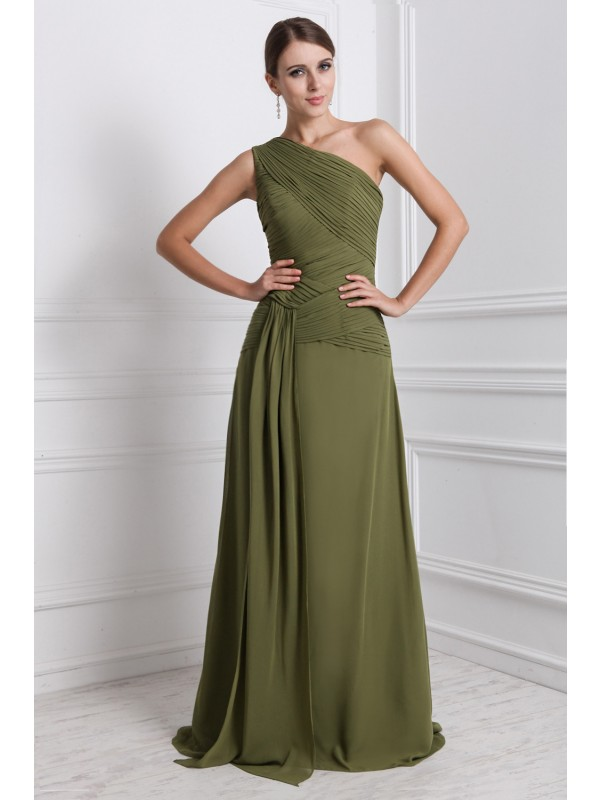 A-Line/Princess One-Shoulder Sleeveless Long Ruffles Chiffon Dresses