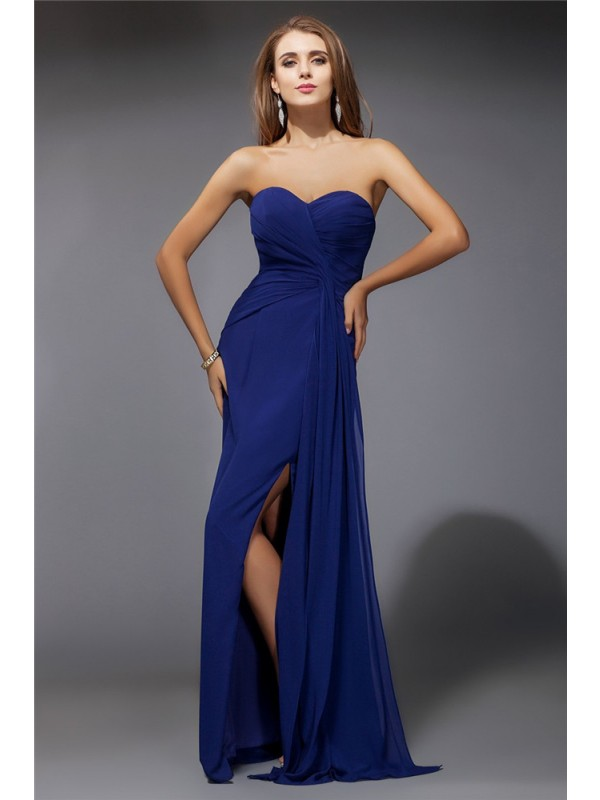 Sheath/Column Sweetheart Long Sleeveless Ruffles Chiffon Dresses