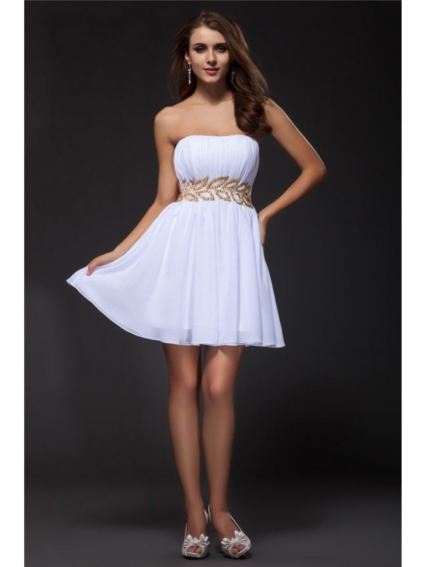 A-Line/Princess Strapless Sleeveless Beading Short Chiffon Cocktail Dresses