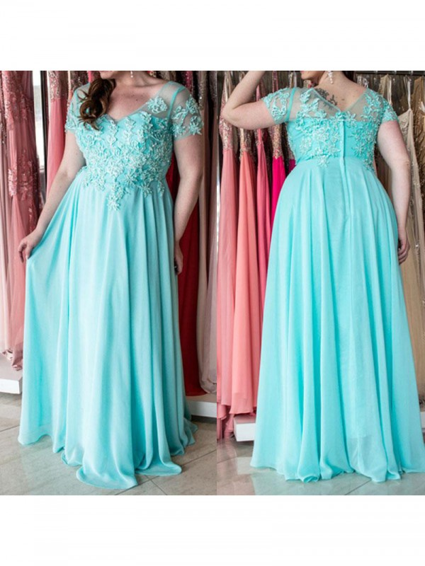 A-Line Sweetheart Short Sleeves Applique Floor-Length Chiffon Plus Size Dresses