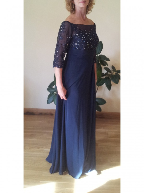 A-Line Bateau 1/2 Sleeves Beading Floor-Length Chiffon Mother Of The Bride Dresses