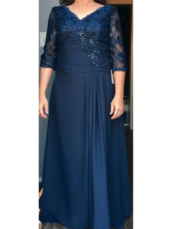 A-Line V-neck 1/2 Sleeves Applique Floor-Length Chiffon Mother Of The Bride Dresses