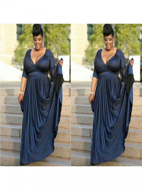 A-Line V-neck 1/2 Sleeves Ruched Floor-Length Elastic Woven Satin Mother Of The Bride Dresses
