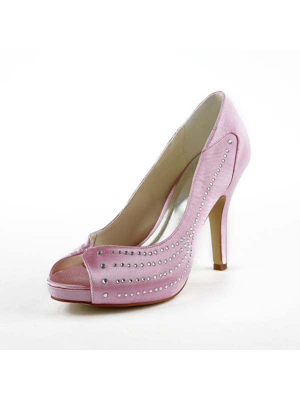 Women's Satin Stiletto Heel Peep Toe Platform Pink Wedding Shoes With Rhinestone