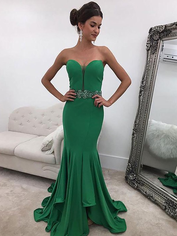 c42893328b4eb Mermaid Sleeveless Sweetheart Ruffles Sweep/Brush Train Satin Dresses ...