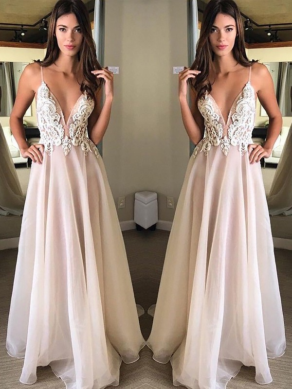 A-Line Spaghetti Straps Sleeveless Floor-Length Applique Chiffon Dresses