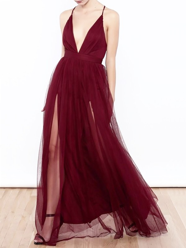 A-Line V-neck Floor-Length Tulle Sleeveless Ruffles Dresses