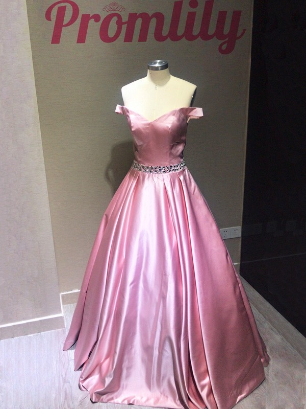 A-Line Sleeveless Off-the-Shoulder Floor-Length Satin Beading Dresses