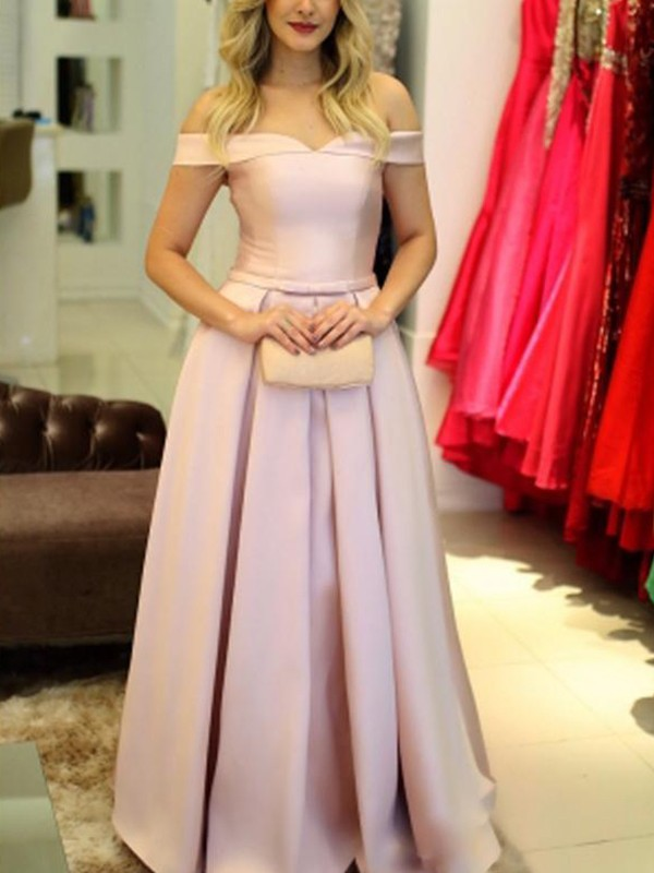 A-Line Off-the-Shoulder Sleeveless Floor-Length Ruffles Satin Dresses