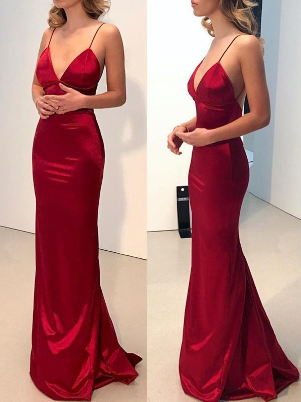 Sheath Spaghetti Straps V-neck Sweep/Brush Train Silk like Satin Dresses