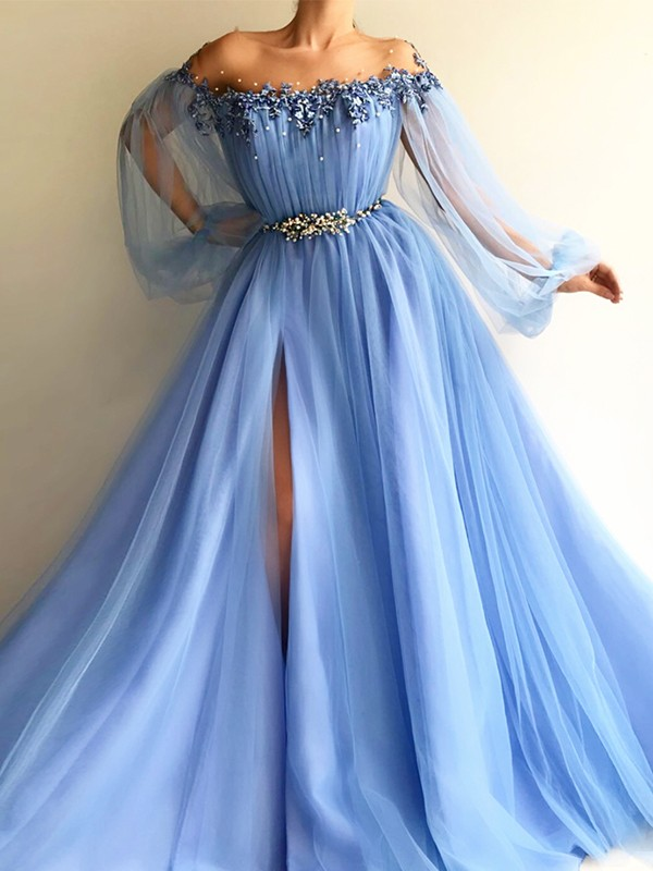 A-Line Long Sleeves Off-the-Shoulder Tulle Beading Floor-Length Dresses