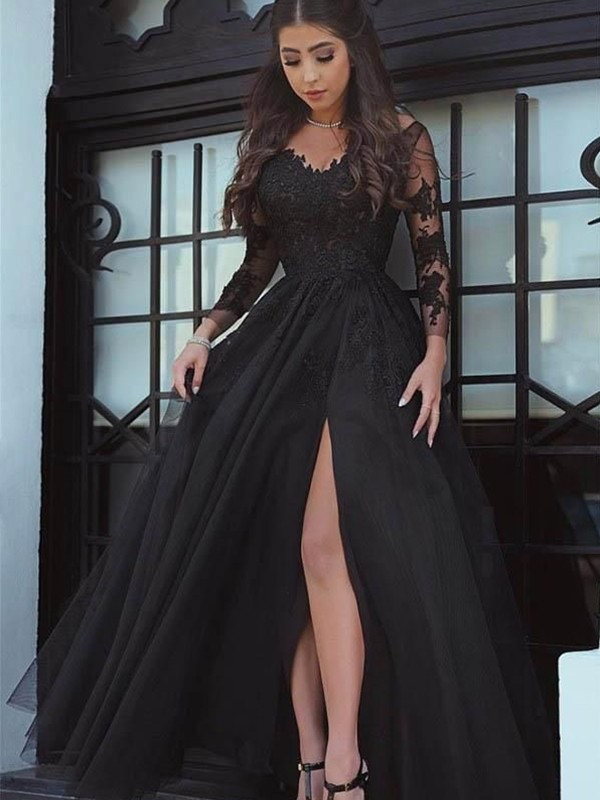 Ball Gown Long Sleeves Off-the-Shoulder Floor-Length Lace Applique Dresses