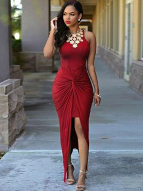 Sheath Sleeveless Jewel Ankle-Length Spandex Beading Asymmetrical Dresses