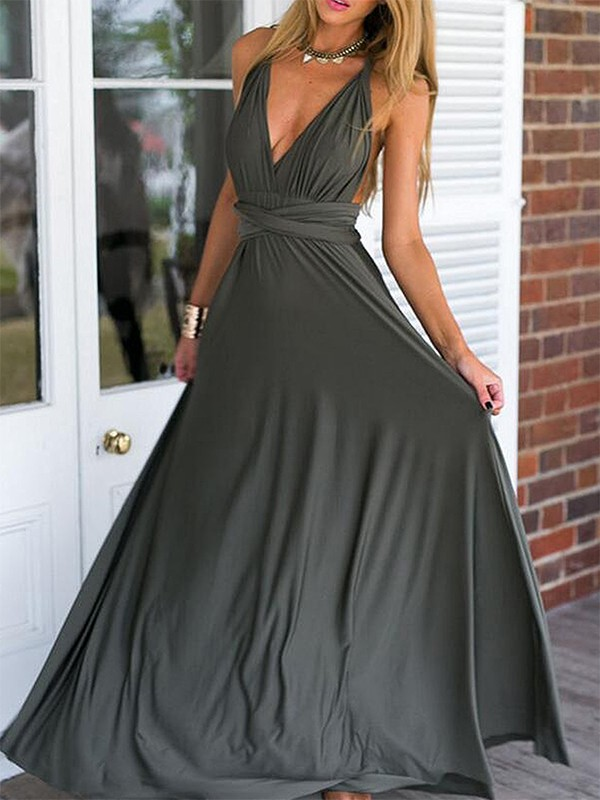 Empire Sleeveless V-neck Floor-Length Spandex Ruffles Dresses