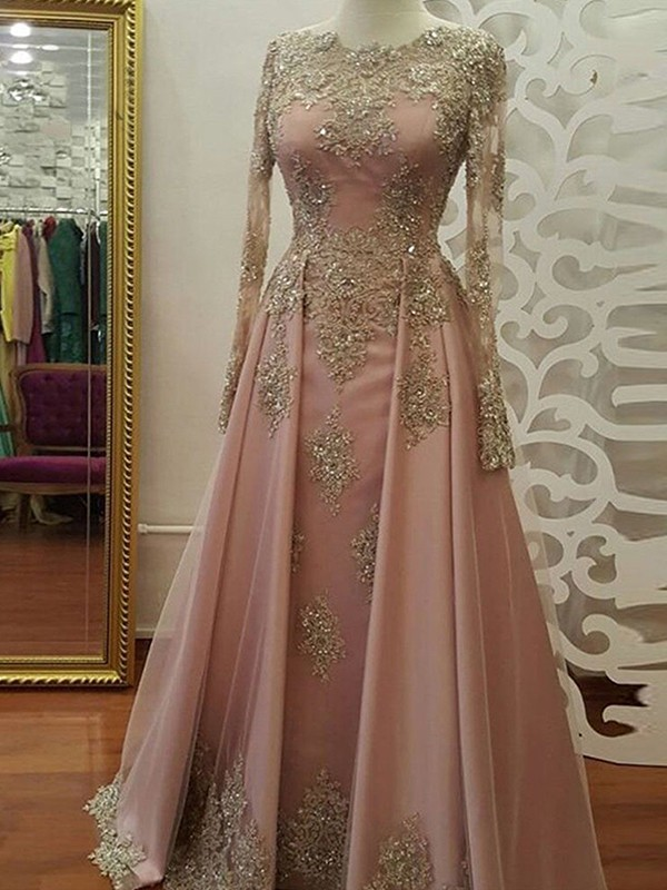 A-Line Long Sleeves Scoop Floor-Length Applique Tulle Muslim Dresses