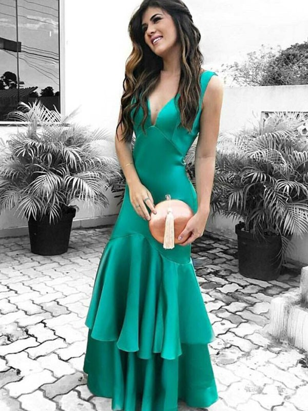 Sheath Sleeveless V-neck Floor-Length Ruffles Satin Dresses