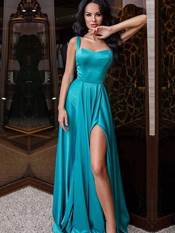 A-Line Sleeveless Straps Sweep/Brush Train Ruffles Satin Dresses