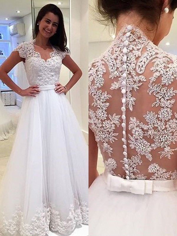 A-Line V-neck Sleeveless Floor-Length Applique Tulle Wedding Dresses