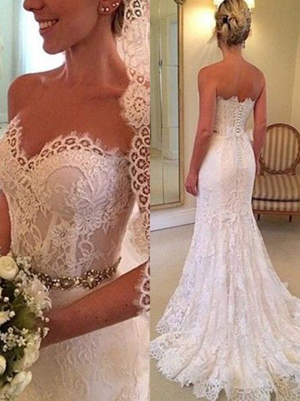 Sheath Sweetheart Sleeveless Sweep/Brush Train Beading Lace Wedding Dresses