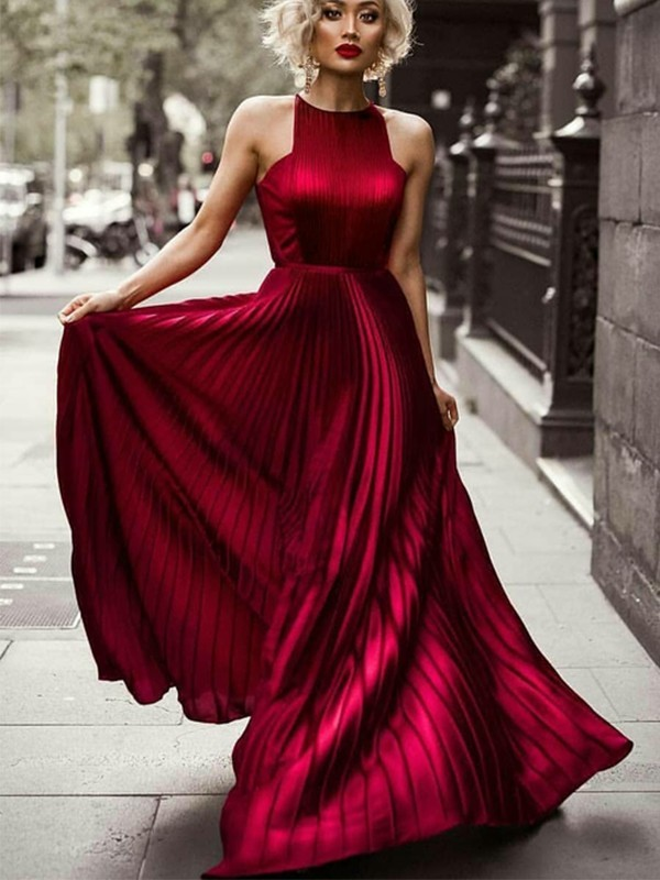 A-Line Halter Sleeveless Floor-Length Ruched Silk like Satin Dresses