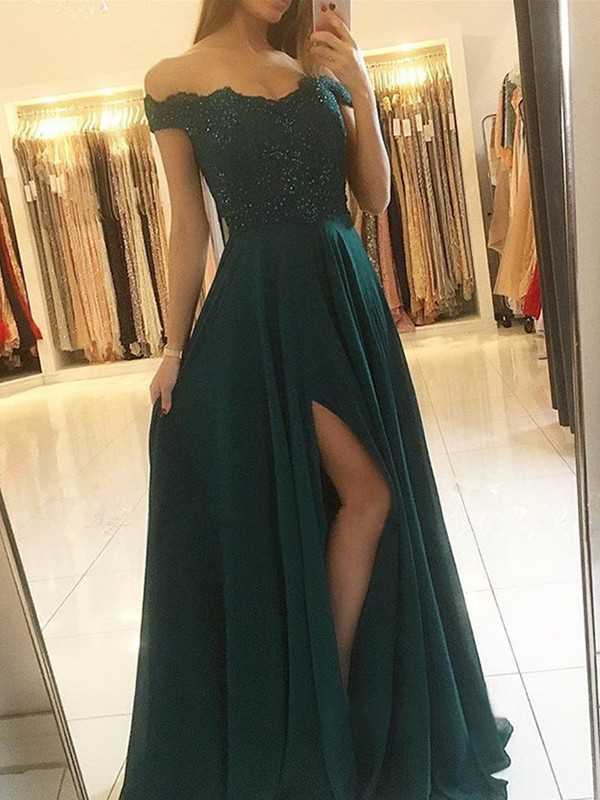 A-Line Off-the-Shoulder Sleeveless Floor-Length Beading Chiffon Dresses