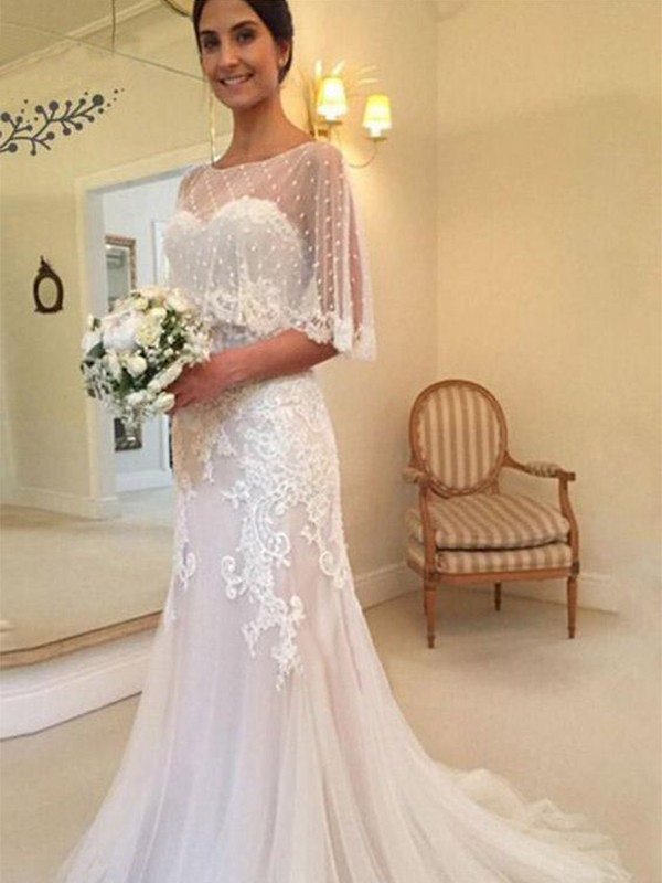 Sheath/Column Tulle Applique Sweetheart Sweep/Brush Train Wedding Dresses