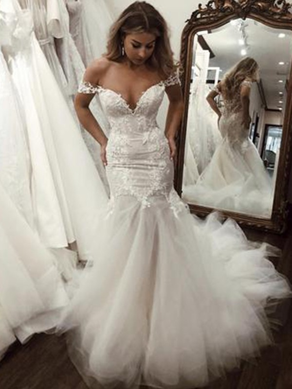 Trumpet/Mermaid Tulle Applique Off-the-Shoulder Sweep/Brush Train Wedding Dresses